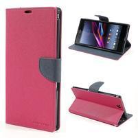 Peňaženkové PU kožené puzdro pre Sony Z Ultra - rose
