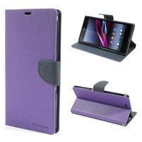 Peněženkové PU kožené pouzdro na Sony Z Ultra - fialové