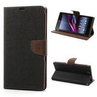 Peňaženkové PU kožené puzdro pre Sony Z Ultra - čierne/hnedé