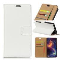 Standy PU kožené peňaženkové puzdro na mobil Xiaomi Mi 8 Lite - biele