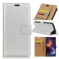 Standy PU kožené peňaženkové puzdro na mobil Xiaomi Mi 8 Lite - strieborné