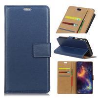 Standy PU kožené peňaženkové puzdro na mobil Xiaomi Mi 8 Lite - modré