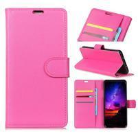 Litch PU kožené peňaženkové puzdro na Xiaomi Mi Mix 3 - rose