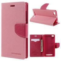 Diary PU kožené pouzdro na mobil Xiaomi Redmi 3 - růžové