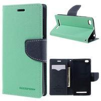 Diary PU kožené pouzdro na mobil Xiaomi Redmi 3 - azurové