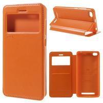 Luxy PU kožené puzdro s okienkom na Xiaomi Redmi 3 - oranžové