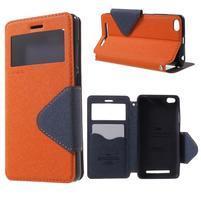 Diary view peňaženkové puzdro pre Xiaomi Redmi 3 - oranžové