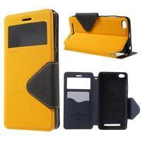 Diary view peňaženkové puzdro pre Xiaomi Redmi 3 - žlté