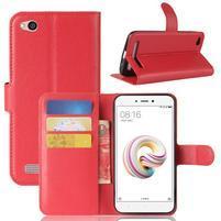 Wallet PU kožené puzdro na Xiaomi Redmi 5A - červené