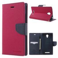 Goos PU kožené puzdro pre Xiaomi Redmi Note 2 - rose