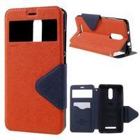 Diary pouzdro s okýnkem na mobil Xiaomi Redmi Note 3  - oranžové