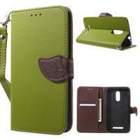 Leaf peněženkové pouzdro na Xiaomi Redmi Note 3 - zelené