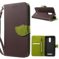 Leaf peňaženkové puzdro pre Xiaomi Redmi Note 3 - hnedé