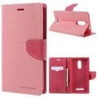 Wallet PU kožené puzdra na Xiaomi Redmi Note 3 - ružové