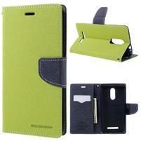 Wallet PU kožené puzdra na Xiaomi Redmi Note 3 - zelené