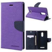 Wallet PU kožené puzdra na Xiaomi Redmi Note 3 - fialové