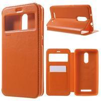 PU kožené puzdro s okienkom na Xiaomi Redmi Note 3 - oranžové