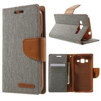 Štýlové textilné/PU kožené puzdro pre Samsung Galaxy Core Prime - šedé