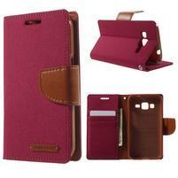 Štýlové textilné/PU kožené puzdro pre Samsung Galaxy Core Prime - červené