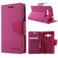 Stylové textilní/PU kožené pouzdro na Samsung Galaxy Core Prime - růžové