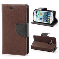 Diary puzdro pre mobil Samsung Galaxy S Duos / Trend Plus - hnedé/čierne