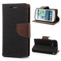 Diary puzdro pre mobil Samsung Galaxy S Duos / Trend Plus - čierne/hnedé