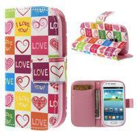 Peňaženkové puzdro pre Samsung Galaxy S3 mini - srdca