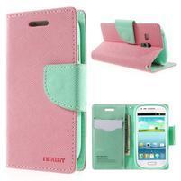 Diary peňaženkové puzdro na mobil Samsung Galaxy S3 mini - ružové/azúrové