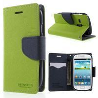 Diary peňaženkové puzdro na mobil Samsung Galaxy S3 mini - zelené/tmavomodré
