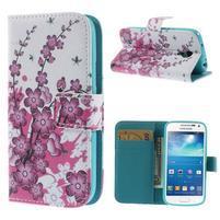 Peňaženkové puzdro pre Samsung Galaxy S4 mini - kvetúca vetvička