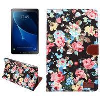 Kvetinové puzdro pre tablet Samsung Galaxy Tab A 10.1 (2016) - čierné