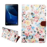 Květinové puzdro na tablet Samsung Galaxy Tab A 10.1 (2016) - bielé