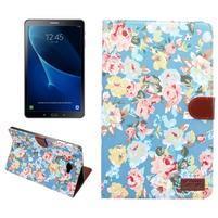 Kvetinové puzdro pre tablet Samsung Galaxy Tab A 10.1 (2016) - modré