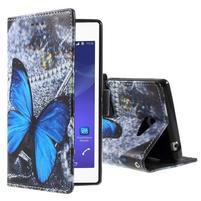Peňaženkové puzdro pre mobil Sony Xperia M2 - modrý motýľ