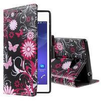 Peňaženkové puzdro pre mobil Sony Xperia M2 - motýľe