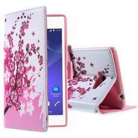 Peňaženkové puzdro pre mobil Sony Xperia M2 -  kvitnúca vetvička