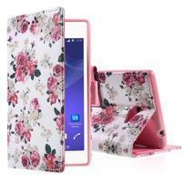 Peňaženkové puzdro pre mobil Sony Xperia M2 - kvetinová koláž