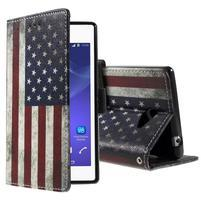 Peňaženkové puzdro na mobil Sony Xperia M2 - US vlajka
