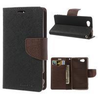 Fancy peňaženkové puzdro na Sony Xperia Z1 Compact - čierne/hnedé