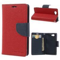 Fancy peňaženkové puzdro na Sony Xperia Z1 Compact - červené