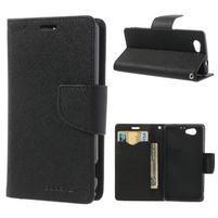 Fancy peňaženkové puzdro na Sony Xperia Z1 Compact - čierne