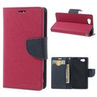 Fancy peňaženkové puzdro na Sony Xperia Z1 Compact - rose