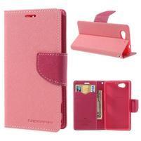 Fancy peňaženkové puzdro na Sony Xperia Z1 Compact - ružové