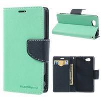 Fancy peňaženkové puzdro pre Sony Xperia Z1 Compact - azúrové