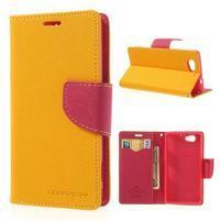 Fancy peňaženkové puzdro na Sony Xperia Z1 Compact - žlté