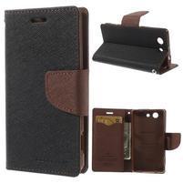 Diary peněženkové pouzdro na mobil Sony Xperia Z3 Compact - černé/hnědé