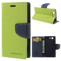 Diary Peňaženkové puzdro pre mobil Sony Xperia Z3 Compact - zelené