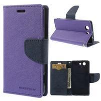 Diary Peňaženkové puzdro pre mobil Sony Xperia Z3 Compact - fialové