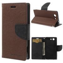 Diary Peňaženkové puzdro pre mobil Sony Xperia Z3 Compact - hnedé