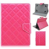 Rhomb univerzálne PU kožené puzdro na tablet do rozmerov 190 x 120 x 11,5 mm - rose